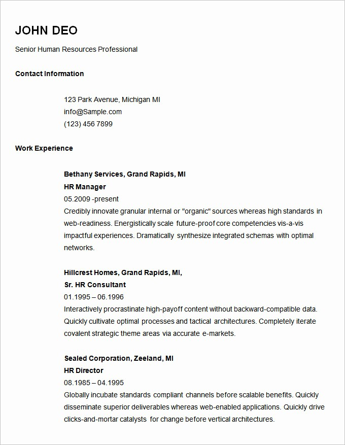 Basic format Of A Resume Beautiful 70 Basic Resume Templates Pdf Doc Psd
