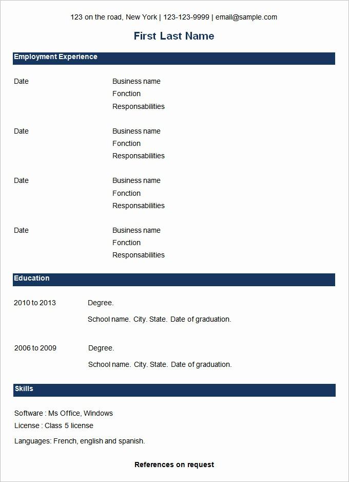 Basic format Of A Resume Elegant 70 Basic Resume Templates Pdf Doc Psd