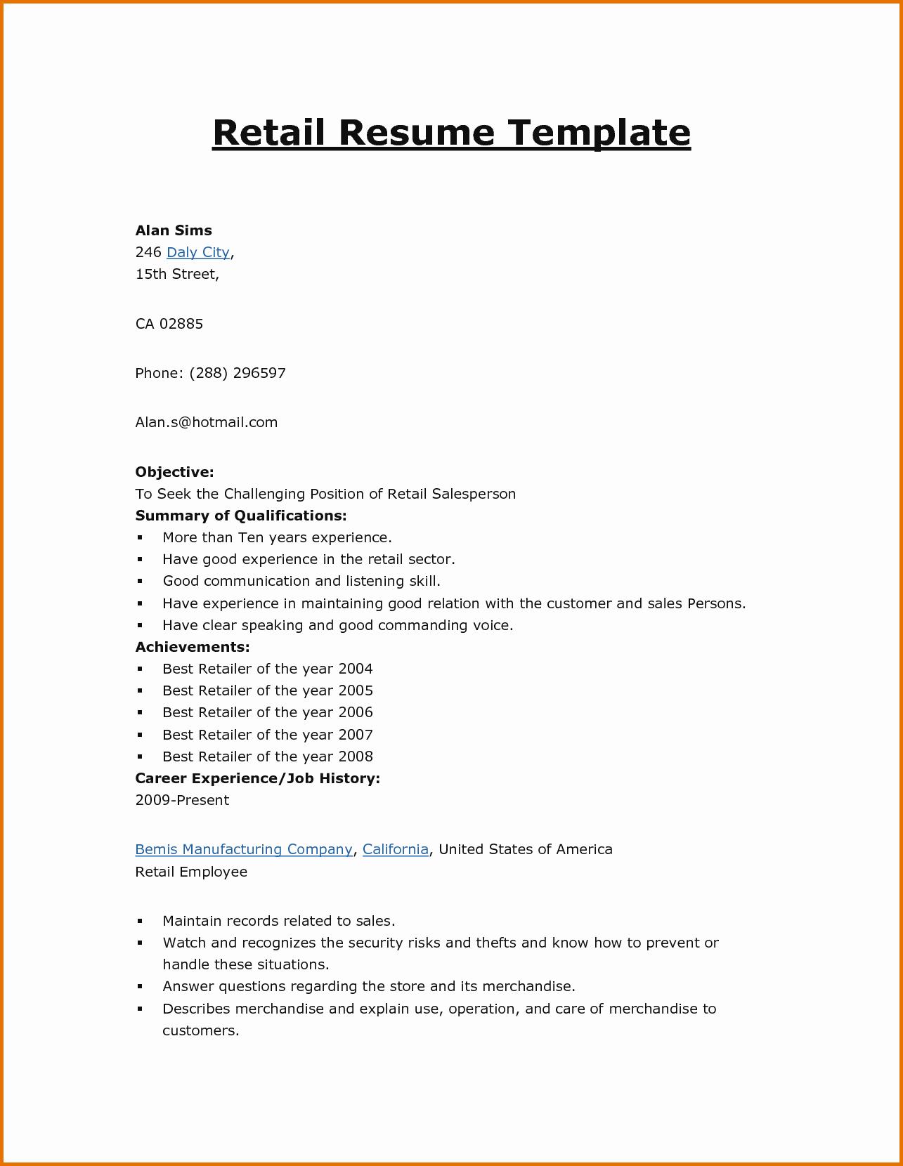 Basic format Of A Resume Elegant Basic Cv Templates Retailreference Letters Words