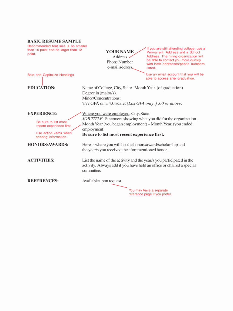 Basic format Of A Resume Fresh 2019 Basic Resume Template Fillable Printable Pdf