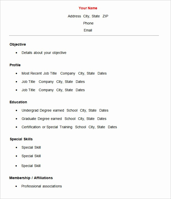 Basic format Of A Resume Inspirational 70 Basic Resume Templates Pdf Doc Psd