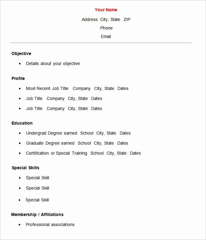 Basic format Of A Resume Inspirational 70 Basic Resume Templates Pdf Doc Psd