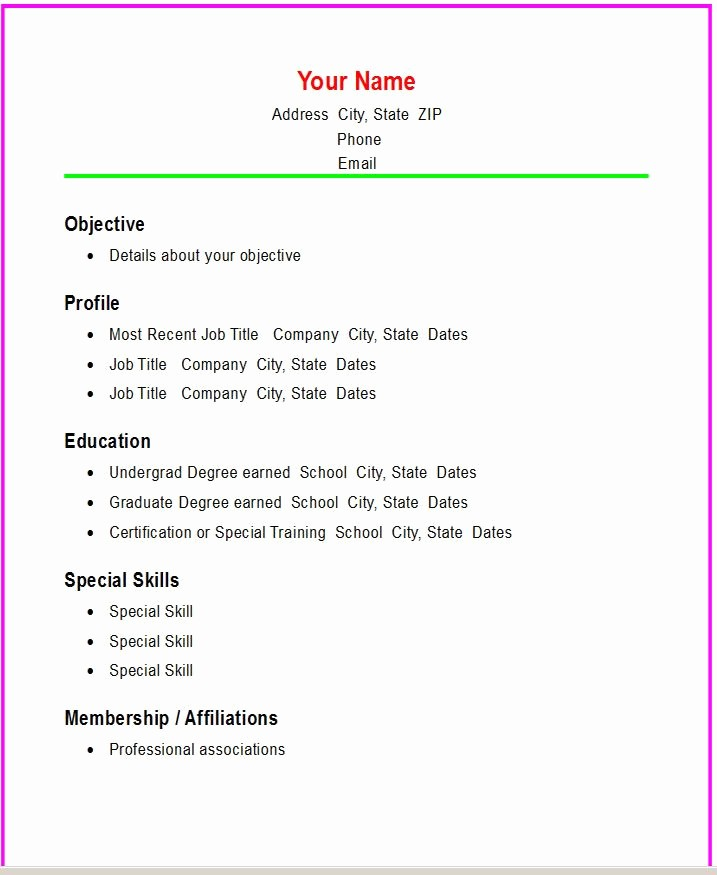 Basic format Of A Resume Luxury Basic Resume Templates