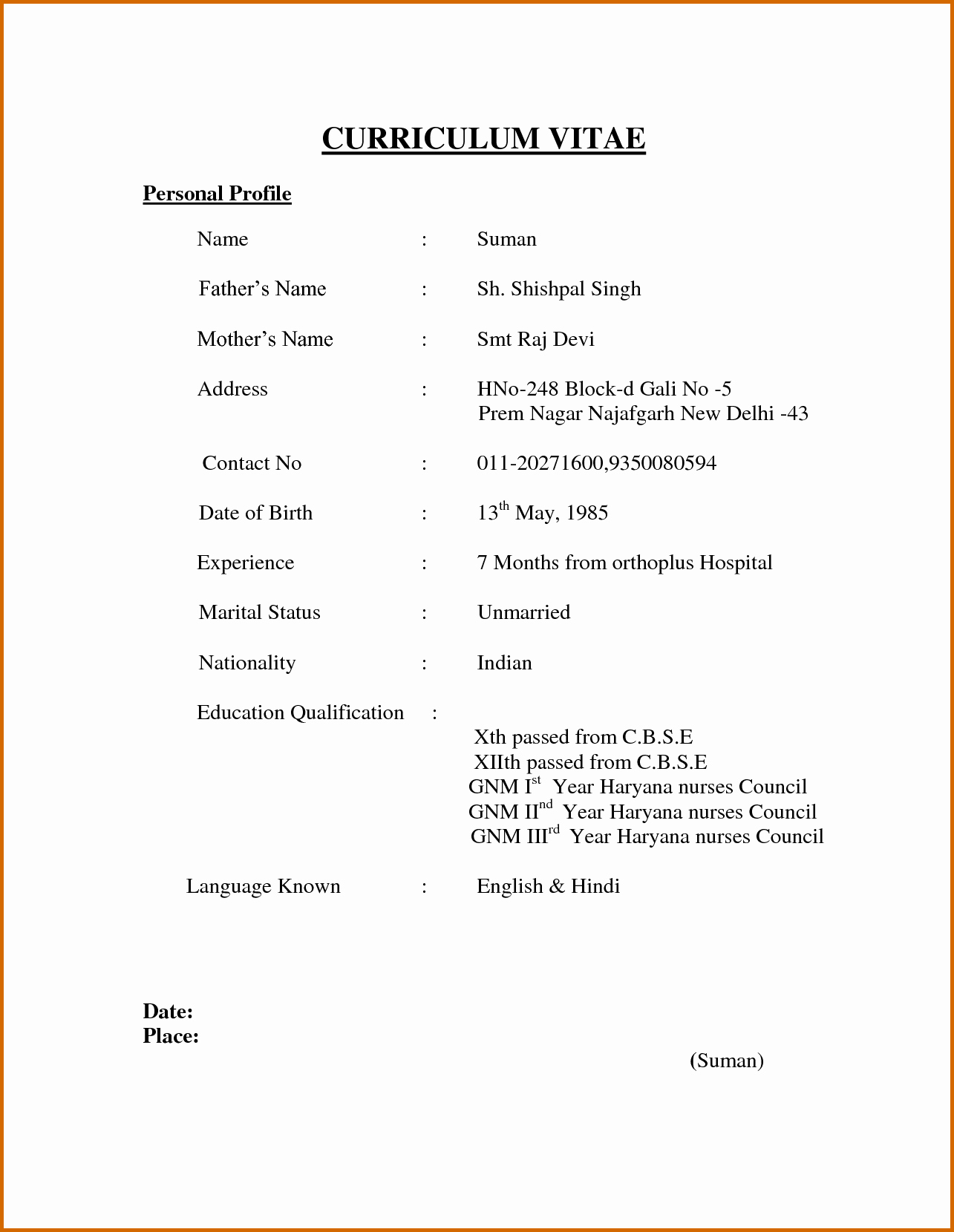 Basic format Of A Resume New 3 Indian Simple Job Resume