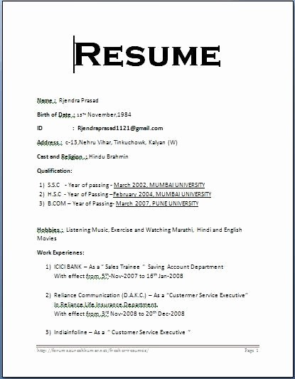 Basic format Of A Resume New format for Resume F Resume