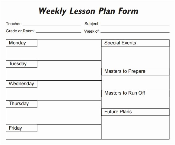 Basic Lesson Plan Template Word Inspirational Free Weekly Lesson Plan Template Word Weekly Lesson Plan
