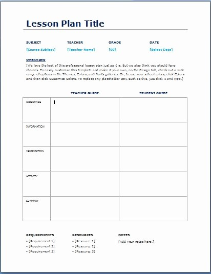 Basic Lesson Plan Template Word New Daily Lesson Plan Template Templates Data