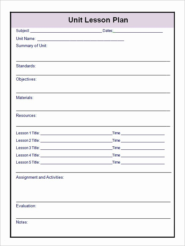 Basic Lesson Plan Template Word Unique 12 Sample Unit Plan Templates to Download for Free