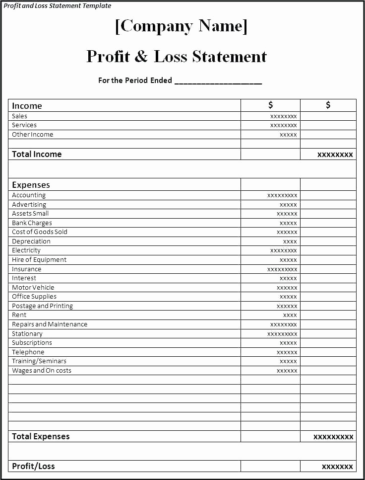 Basic Profit and Loss Statement Inspirational Free Simple Profit Loss Statement form and A Template for