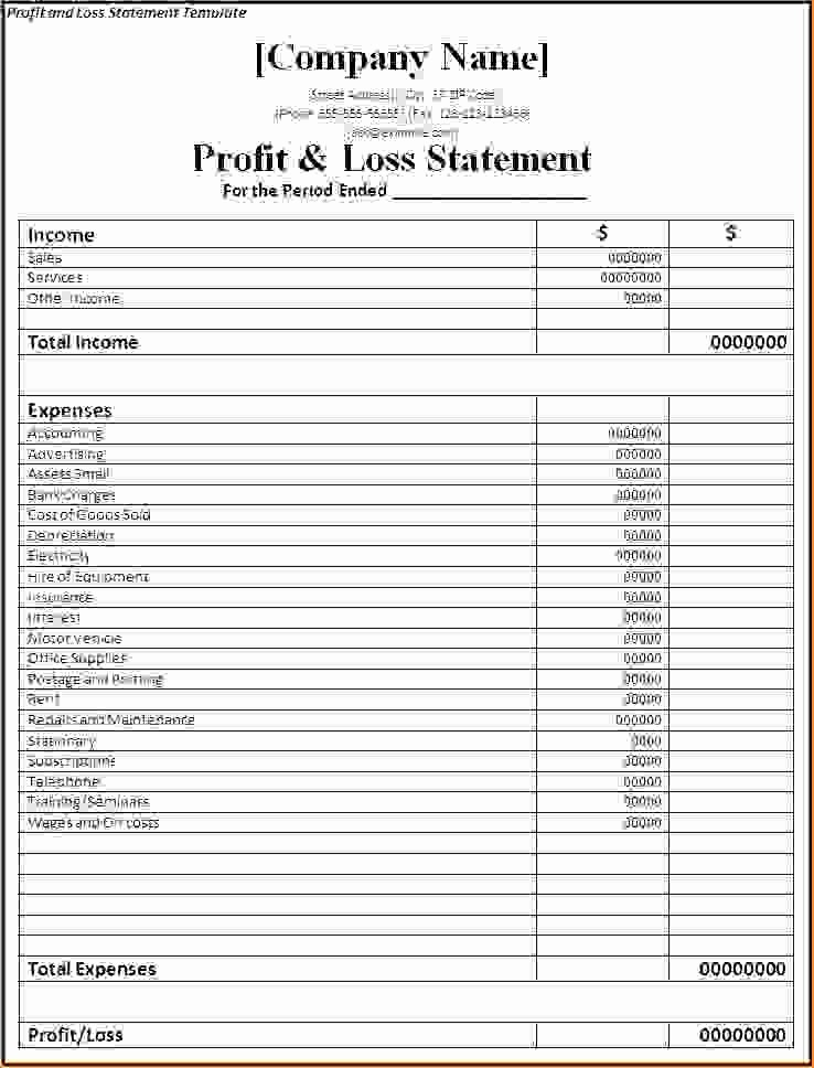 Basic Profit and Loss Template Awesome 7 Simple Profit and Loss Template