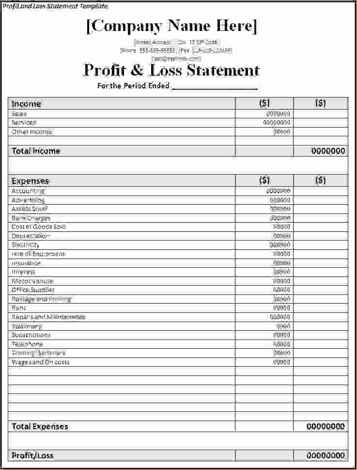 Basic Profit and Loss Template Beautiful 7 Simple Profit and Loss Template