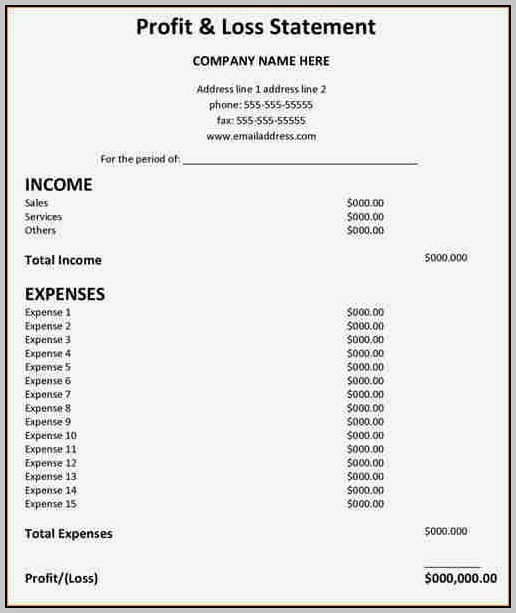 Basic Profit and Loss Template Lovely Basic Profit and Loss Statement Template Resume