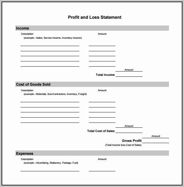 Basic Profit and Loss Template Unique Business Profit Loss Template Template Resume Examples