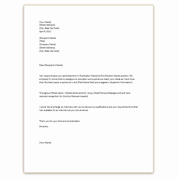 Basic Resume Cover Letter Examples Awesome Example Cover Letter for Resume Template