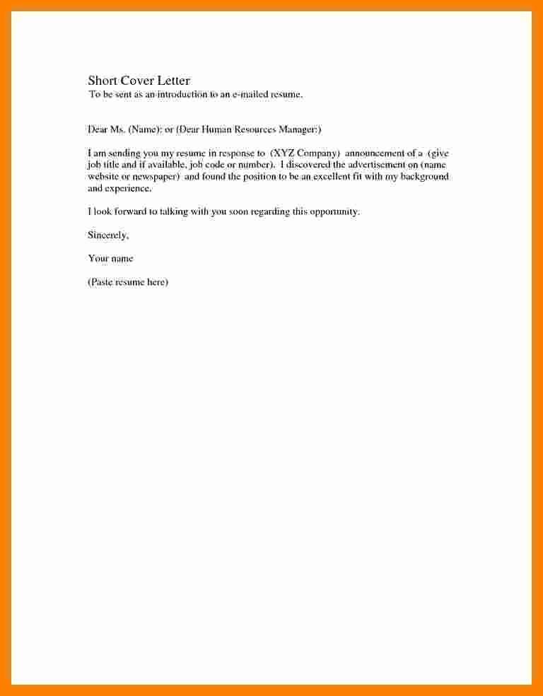 Basic Resume Cover Letter Examples Inspirational Basic Cover Letter