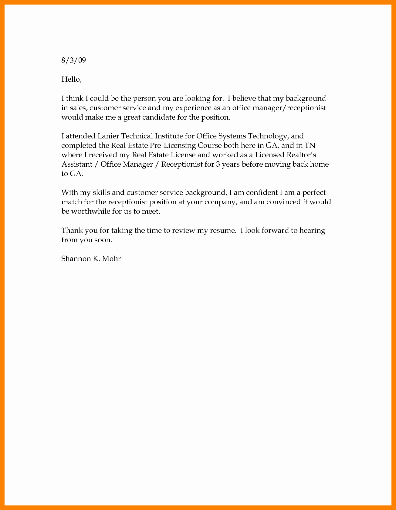 Basic Resume Cover Letter Examples Inspirational Basic Cover Letter Structure