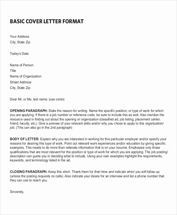 Basic Resume Cover Letter Examples Unique 7 Sample Resume Cover Letter formats