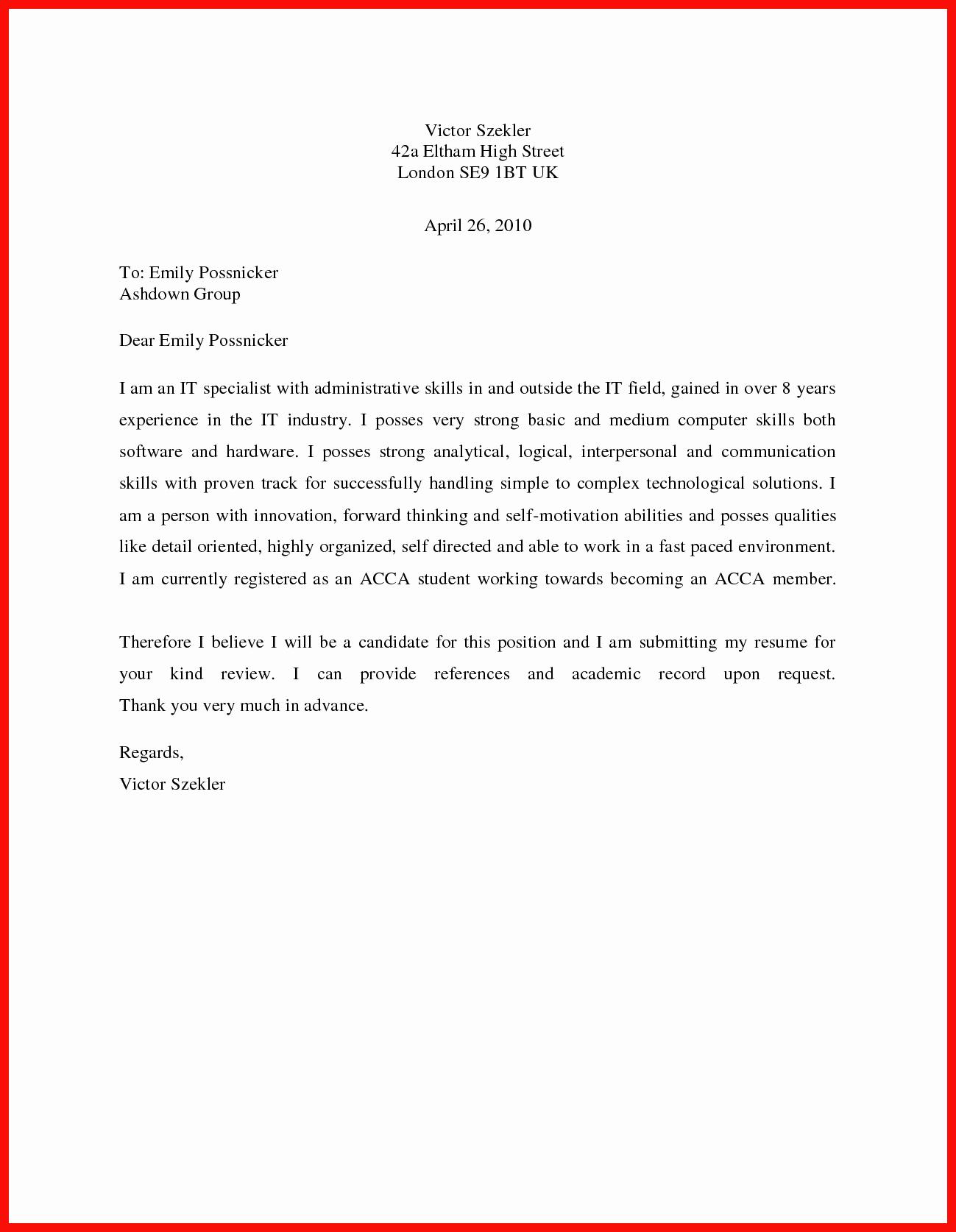 Basic Resume Cover Letter Template Fresh Basic Cover Letter Sample