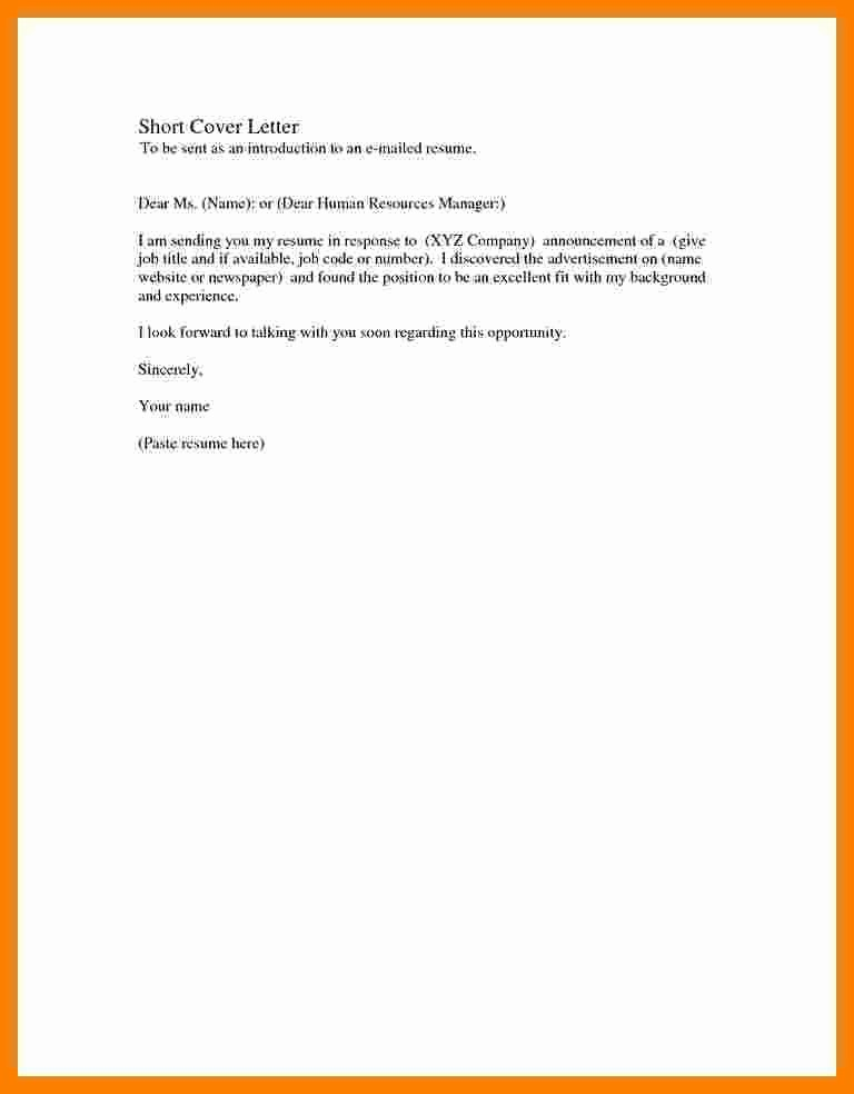 Basic Resume Cover Letter Template Lovely 5 Basic Covering Letter Samples