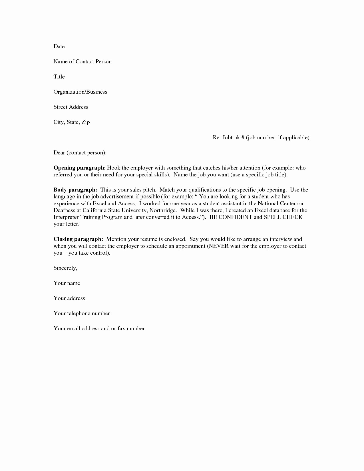 Basic Resume Cover Letter Template Luxury Basic Cover Letter Template Free