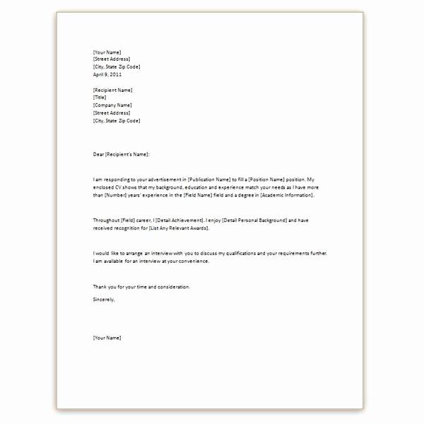 Basic Resume Cover Letter Template Luxury Example Cover Letter for Resume Template