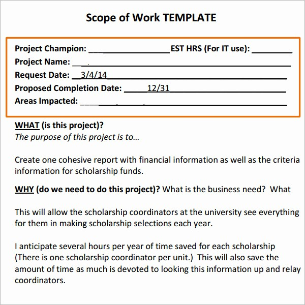 Basic Scope Of Work Template Beautiful Scope Of Work 16 Free Pdf Dowload In Pdf Doc Excel