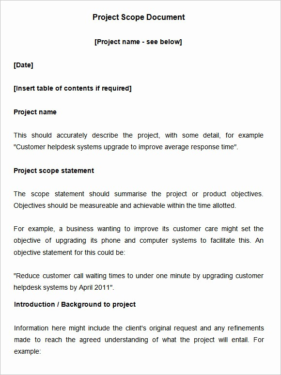 Basic Scope Of Work Template Beautiful Scope Of Work Template 36 Free Word Pdf Documents