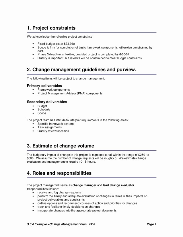 Basic Scope Of Work Template New Change Plan Template and Example