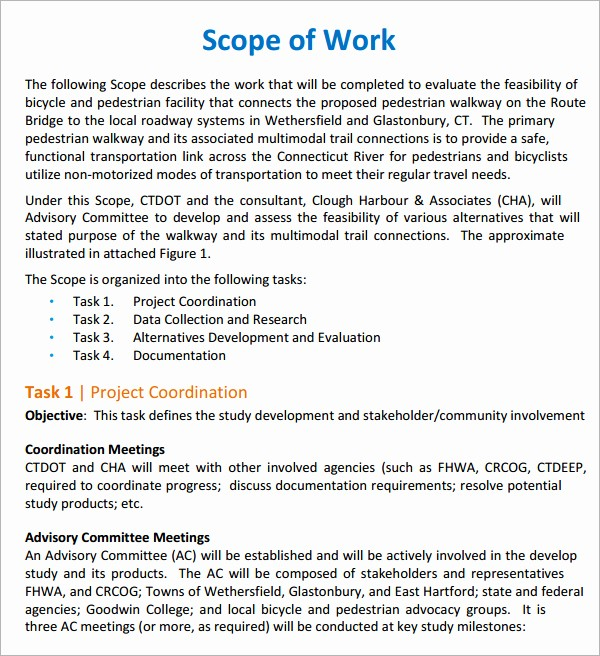 Basic Scope Of Work Template New Free Scope Of Work Templates Word Excel Pdf formats