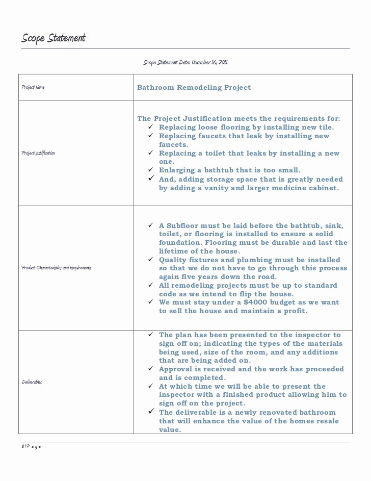 Bathroom Remodel Project Plan Template Best Of Business Management Final Project