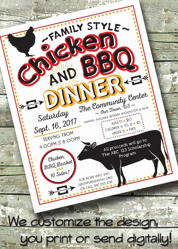 Bbq Fundraiser Flyer Templates Free Beautiful Chicken & Bbq Dinner Picnic Fundraiser Brisket Chicken