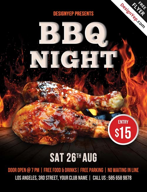 Bbq Fundraiser Flyer Templates Free Elegant Free Barbecue Night Psd Flyer Template