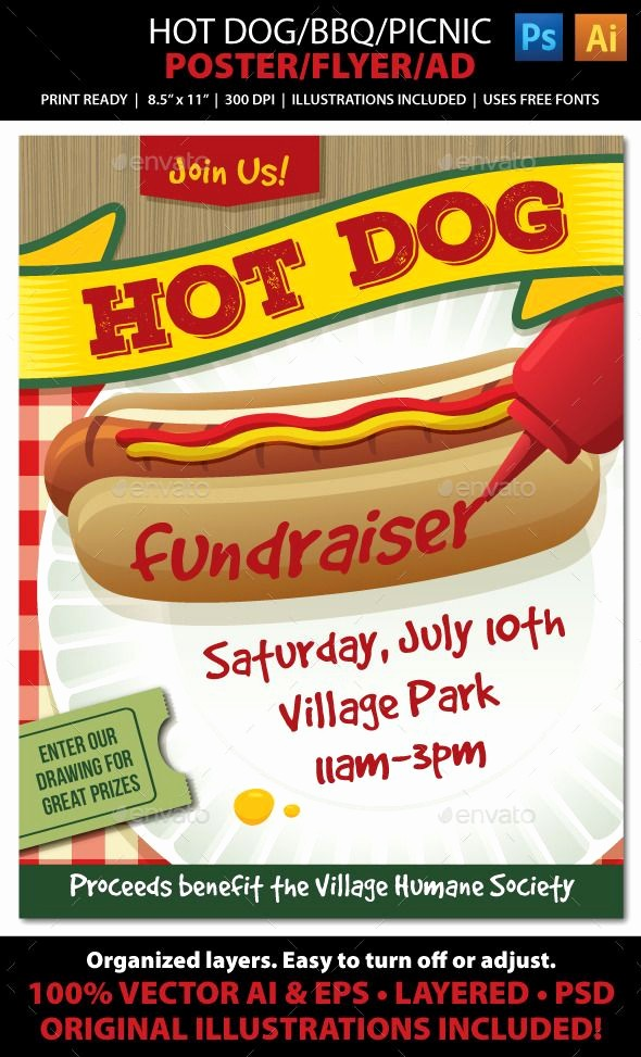 Bbq Fundraiser Flyer Templates Free Unique Hot Dog Bbq Picnic event Poster Flyer or Ad