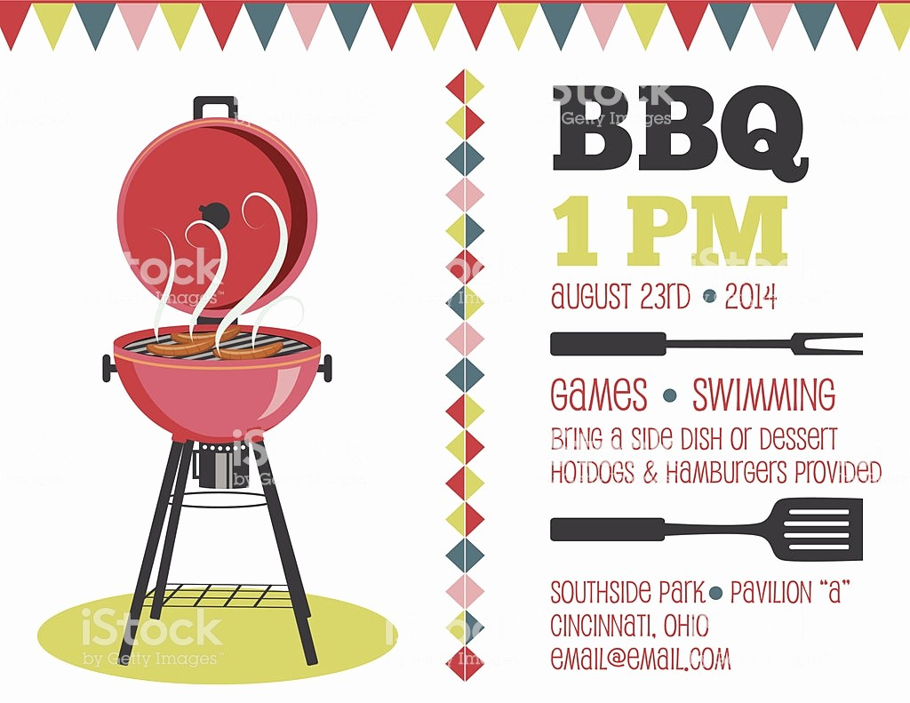 Bbq Party Invitation Templates Free Awesome Retro Bbq Invitation Template Stock Vector Art & More