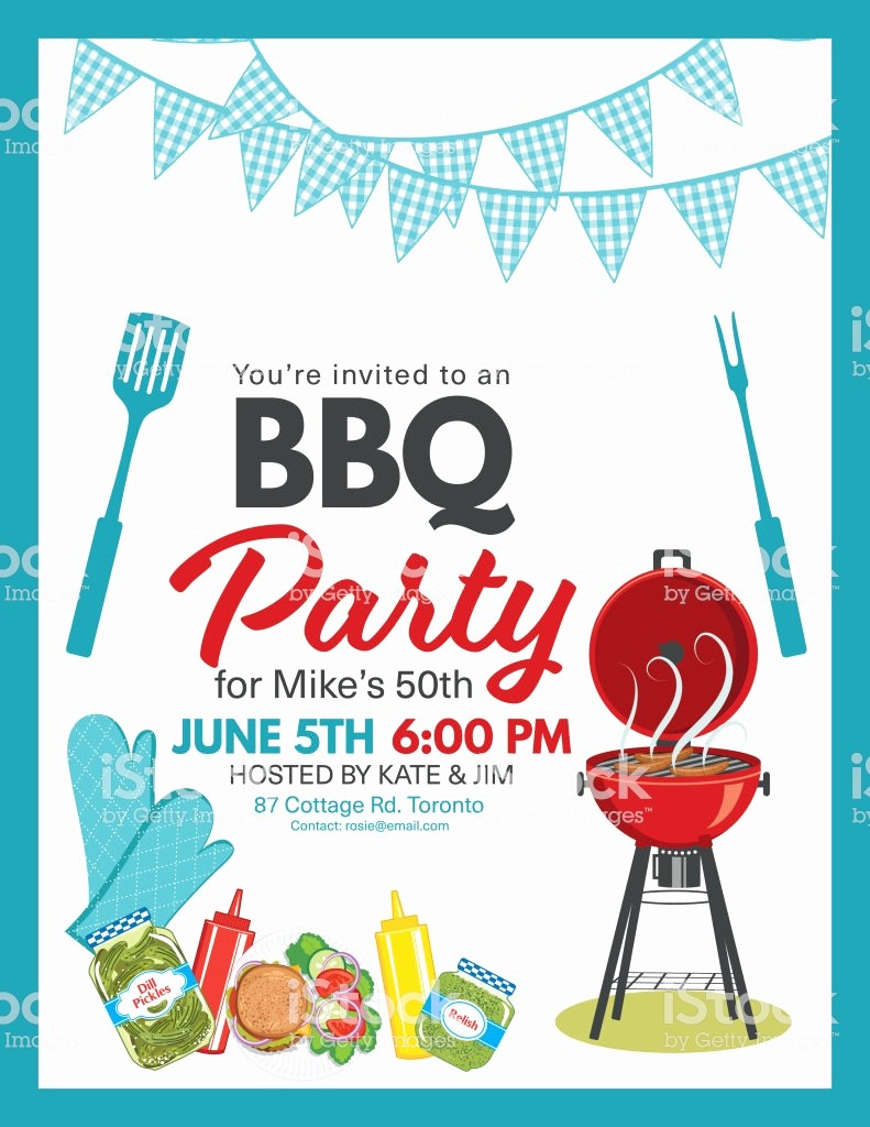 Bbq Party Invitation Templates Free Beautiful Bbq Party Invitation Template Stock Vector Art & More