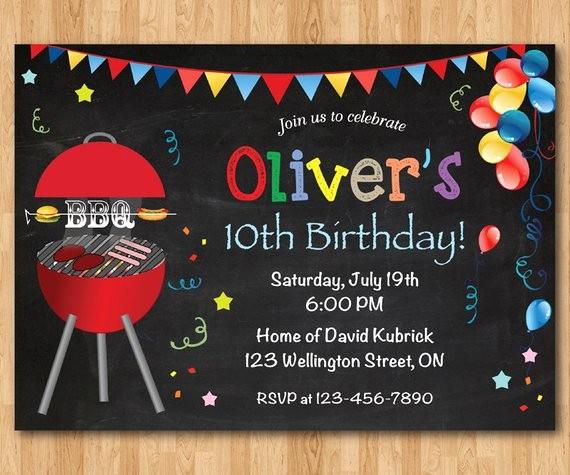 bbq birthday invitation kids chalkboard