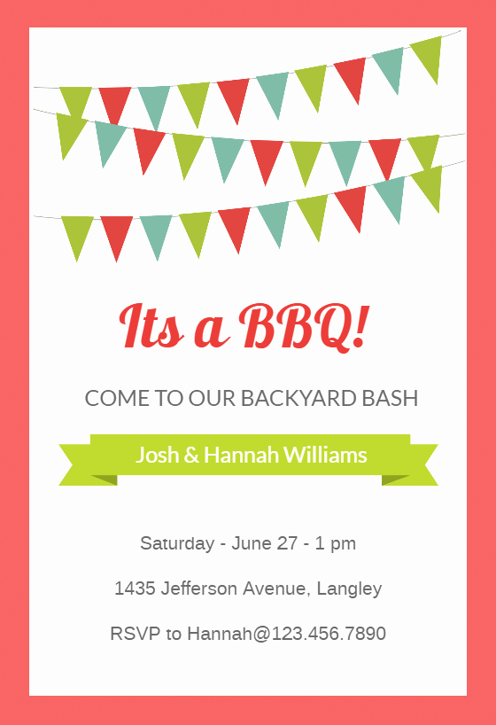 Bbq Party Invitation Templates Free Fresh Red Pennants Free Bbq Party Invitation Template