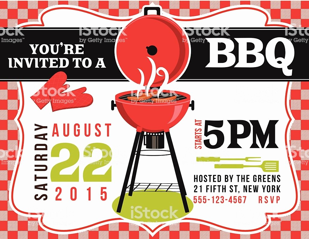 Bbq Party Invitation Templates Free Luxury Bbq Invitation Template Red White Checked Background