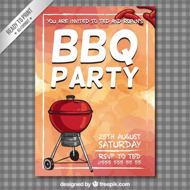 Bbq Party Invitation Templates Free Luxury Bbq Party Flyer Vector