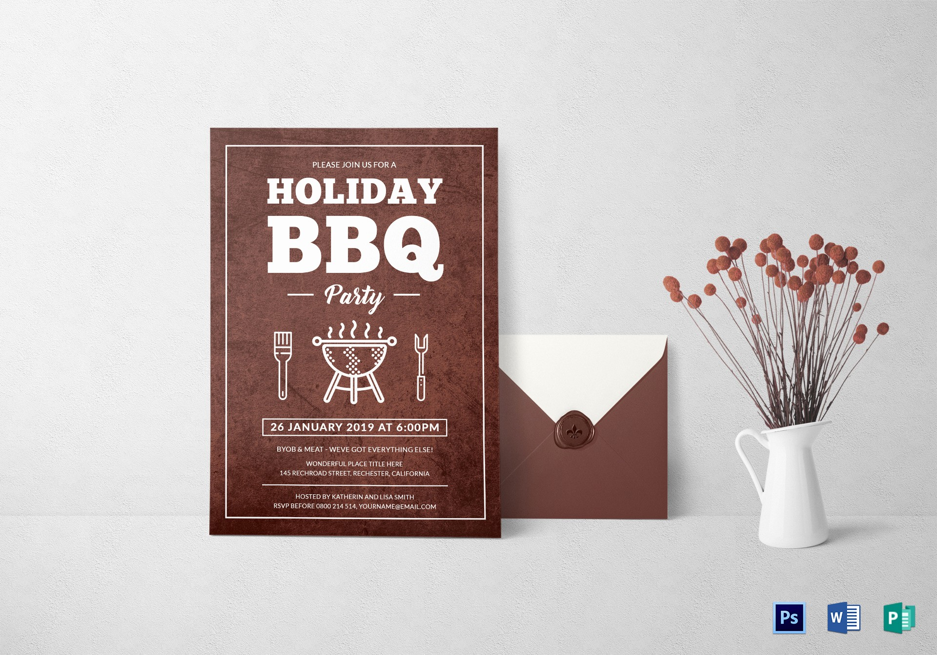 Bbq Party Invitation Templates Free New Bbq Party Invitation Design Template In Word Psd Publisher
