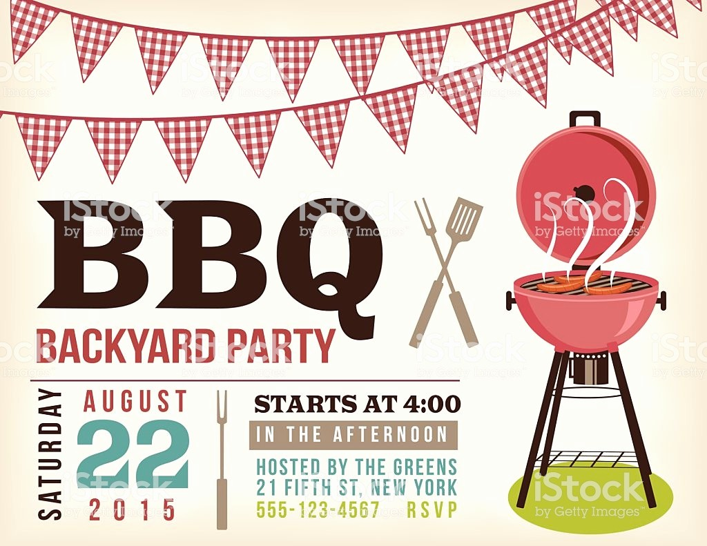 Bbq Party Invitation Templates Free New Retro Bbq Invitation Template with Checkered Flags Stock