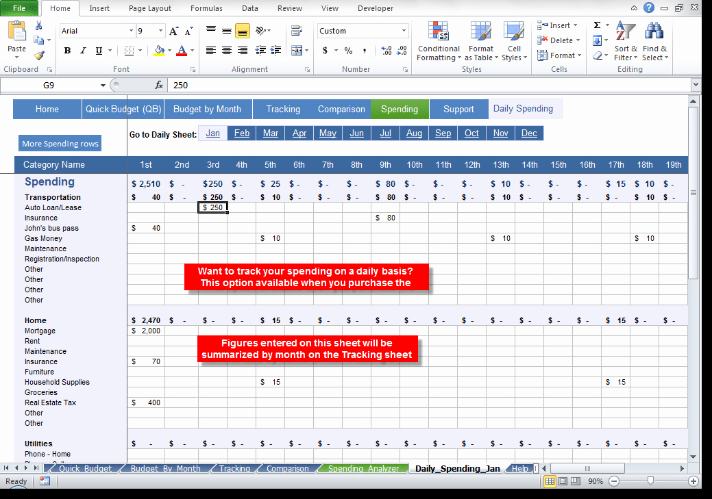 Best Budget Excel Template 2016 New 8 Daily Bud Spread Sheet Templates Excel Templates