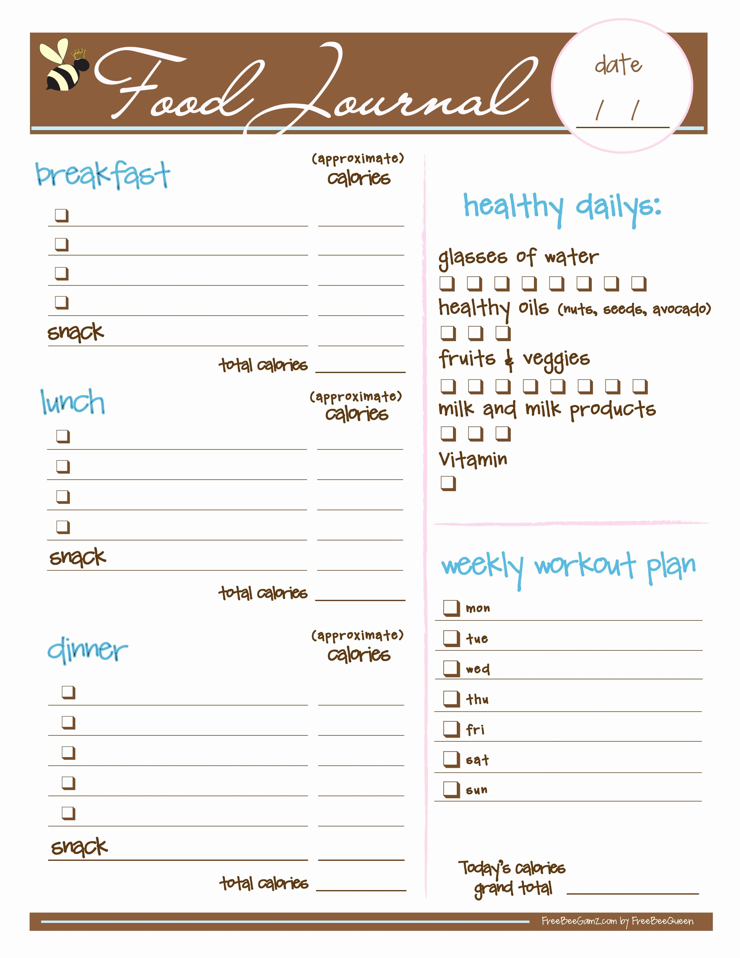 Best Food and Exercise Journal Awesome Free Food Journal I Love This I Just Printed It and It