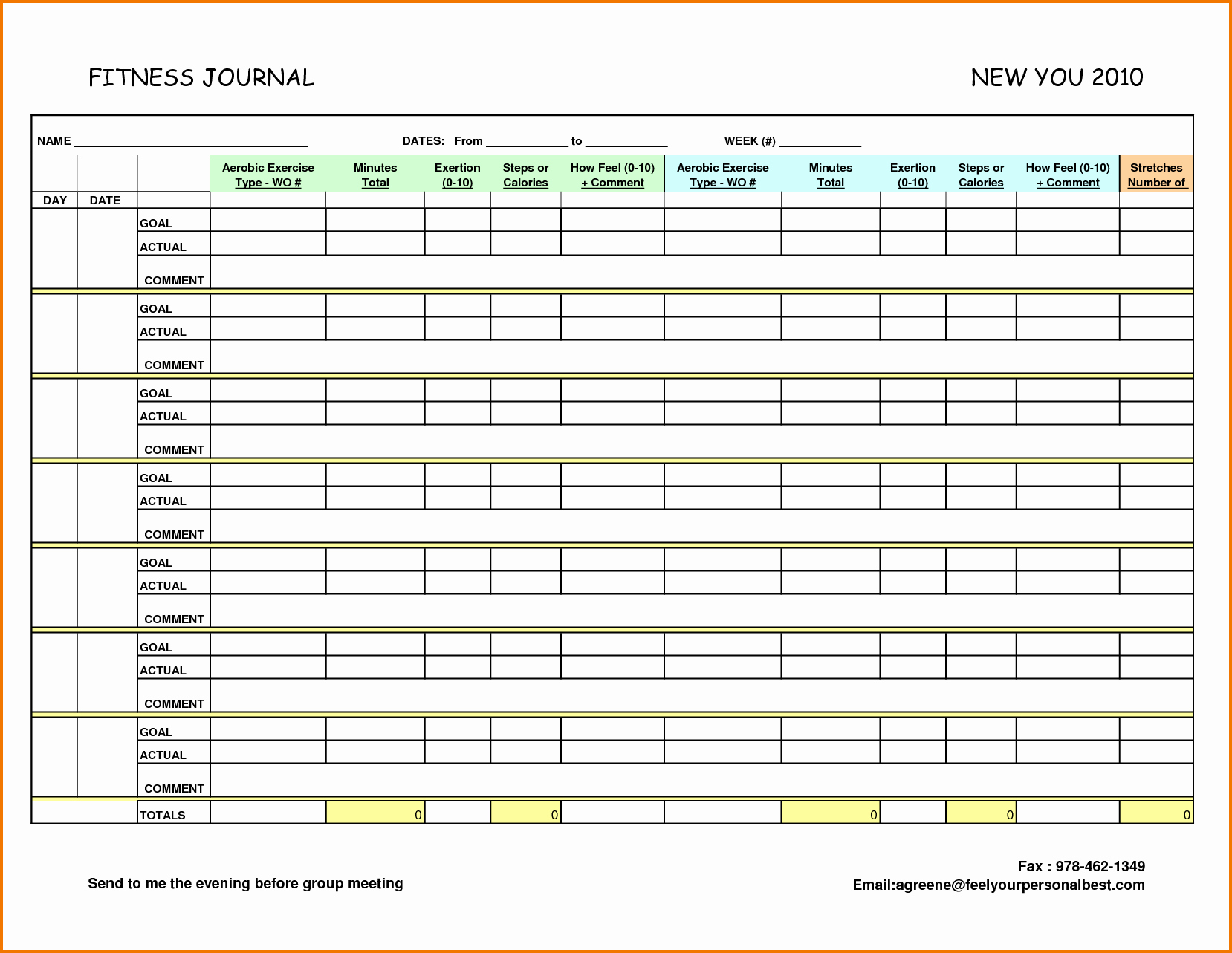 7 food and exercise journal