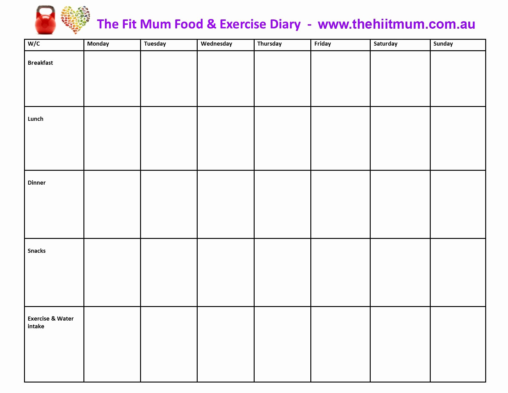 Best Food and Exercise Journal Luxury Journal Food Diary Template