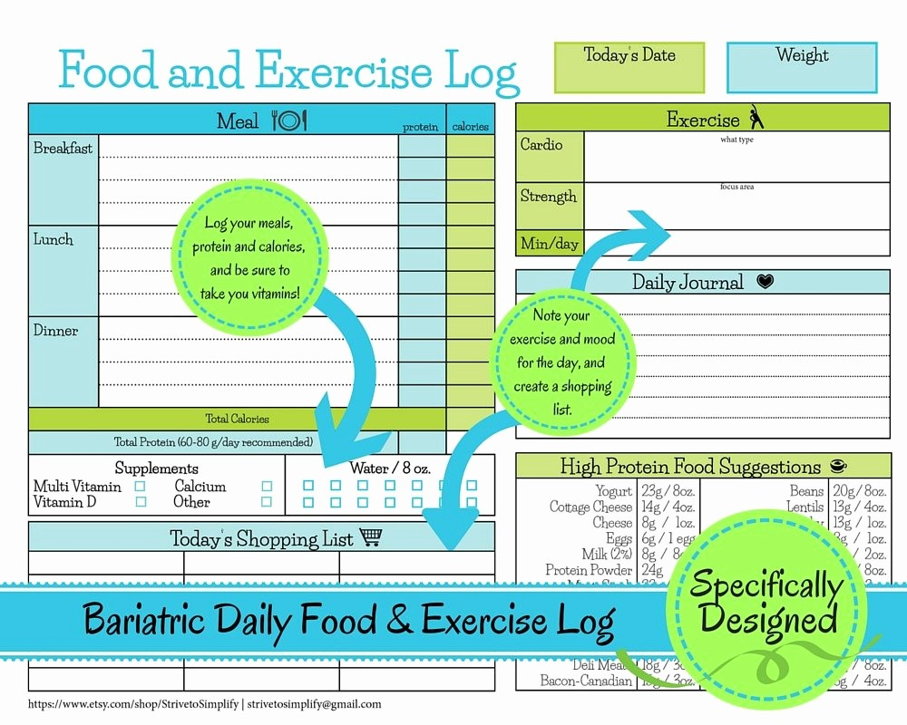 Best Food and Exercise Journal New Bariatric Surgery Daily Food Exercise Tracker Weigh Loss