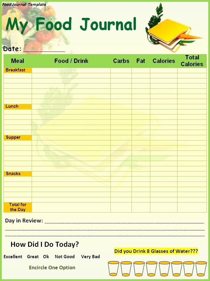 Best Food and Exercise Journal Unique Food Diary Template Printable