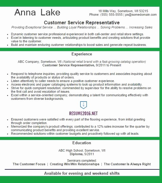 Best Free Resume Templates 2016 Elegant Customer Service Representative Resume Example 2016