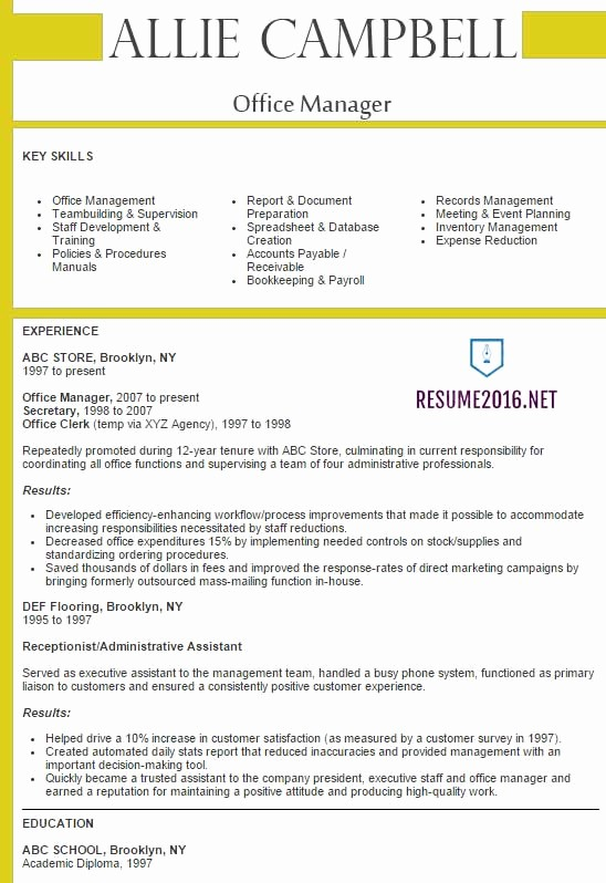 Best Free Resume Templates 2016 Unique Fice Manager Resume 2016 Best Samples