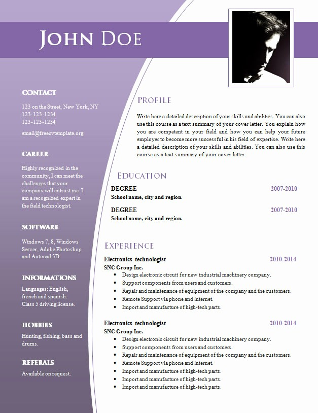 Best Free Word Resume Templates New Cv Templates for Word Doc 632 – 638 – Free Cv Template
